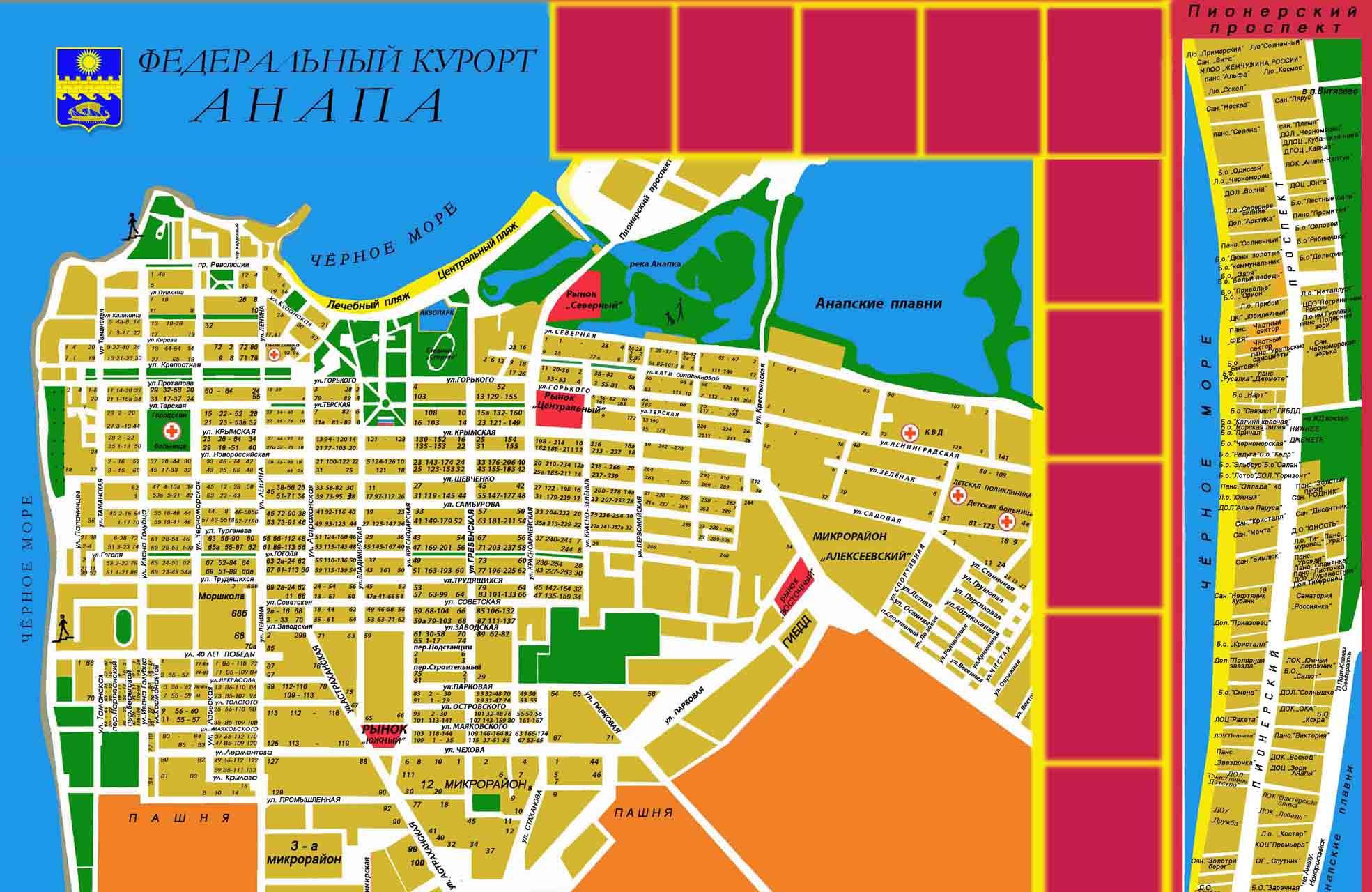Карта поселка с улицами
